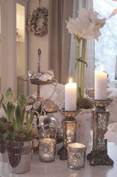 Mercury glass and silver makes any vignette a celebration