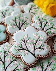 edible flower heat transfers for cookies Summer Cookies, Fancy Cookies, Iced Cookies, Cute Cookies, Easter Cookies, Birthday Cookies, Royal Icing Cookies, Cupcake Cookies, Cookie Favors