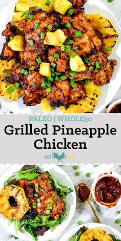 This Paleo grilled pineapple chicken has a smoky barbecue flavor, with a.This Paleo grilled pineapple chicken has a smoky barbecue flavor, with a hint of sweetness and juicy grilled pineapple for a healthy summer dinner! Healthy Dinner Recipes For Weight Loss, Good Healthy Recipes, Whole Food Recipes, Diet Recipes, Cooking Recipes, Dinner Healthy, Whole 30 Chicken Recipes, Easy Paleo Dinner Recipes, Fancy Recipes