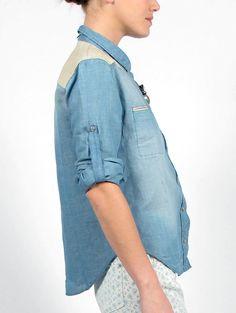 IRO Travis Shirt W/ Leather Detail