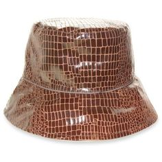 Nine West Brown Reversible Rain Bucket Hat ($23) ❤ liked on Polyvore featuring accessories, hats, brown, bucket hat, nine west hats, brown bucket hat, brown hat and fishing hat
