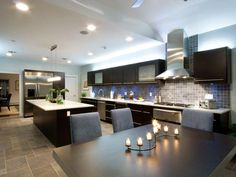 Love the tile work in here and the lighting. This kitchen is very modern yet traditional at the same time