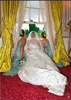 Wedding of Peter Phillips and Autumn Kelly - looking out the window, on her right is Zara Phillips