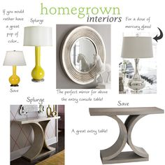 Love the table for the entryway. And I love yellow with gray.