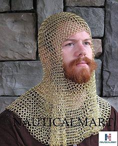 53b20454fcbe4 Medieval Brass Face Mild Steel Chainmail Coif Armour brass plated steel chainmail  coif can be worn under a helmet.