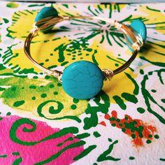 Round Turquoise Wire Wrap Bracelet by BaublesandBumblebees on Etsy
