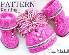 Knitting PATTERN Baby Beanie Knitting Baby Set Baby Shoes Knitted Baby Hat Pattern Baby Booties Baby Boy Baby Girl Pattern ( PDF file )