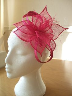 Hot pink, Petals Sinamay Fascinator, on a comb. Weddings, Races, Proms, - Possibility for Robin's High Tea Bridal Party