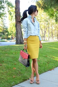 Cabi Curry pencil skirt and Tavern shirt.....so smart...