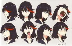 Ryuko drawings by Kill la Kill character designer... | I dunno why but i just love her hair in this fanart!!