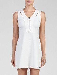 Calvin Klein Jeans | Vestido Zipper frontal Jeans Recortes Off White