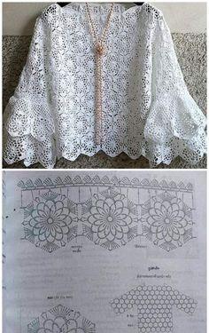 Toque na imagem para baixar receitas de croch e amigurumi totalmente gr tis Beau Crochet, Pull Crochet, Crochet Lace, Crochet Tops, Crochet Motifs, Crochet Stitches, Crochet Patterns, African Lace, Crochet Blouse