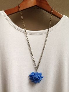 Cerulean Blue Rose Necklace by adieslovelies, $15.99