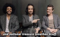 Secretary of State, Thomas Jefferson; Secretary of Treasury, Alexander Hamilton; and national treasure Jonathon Groff