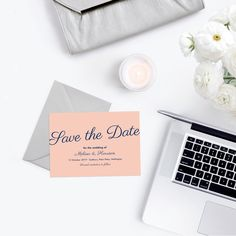 These simple and stylish Save the Dates are perfect for the modern couple, in a blush pink and navy blue colour scheme. Traditional Weddings, Traditional Wedding Invitations, Blue Color Schemes, Navy Blue Color, Blue Save The Dates, Save The Date Wording, Blush Pink Weddings, Wedding Invitation Cards, Blue Wedding
