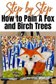 Learn how to paint an easy Fall Birch Tree Landscape with a cute fox in the foreground. This step by step acrylic painting tutorial will guide you through each step. Autumn Painting, Painting For Kids, Art For Kids, Painting Classes, Virtual Art, Mini Canvas Art, Art Activities For Kids, Acrylic Painting Tutorials, Step By Step Painting