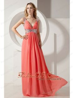 Rust Red Empire V-neck Prom Dress Sequins Chiffon Floor-length  http://www.fashionos.com  If you want to find a gorgeous prom dress,it's the best choice. It features a pretty V neck bodice with two straps and zipper up back. A coordinating beading waist sash adds interest and detail to the mid-section of the dress. The floor length skirt features pleats.  chiffon prom dress | red empire prom dress | sequin prom dress | v neck floor length prom dress |