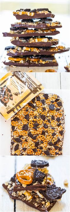 I love Traders Joe's Cowboy Bark! Cowboy Bark: Trader Joe's Copycat Recipe - Just like the real thing & ready in 5 minutes. Salty-and-sweet & supremely good! Candy Recipes, Sweet Recipes, Snack Recipes, Dessert Recipes, Köstliche Desserts, Delicious Desserts, Yummy Food, Tasty, Oreo Dessert