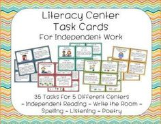 Literacy Center Task Cards - includes poetry, listening, reading, writing, and spelling tasks
