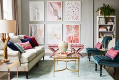 Feminine and glamorous living room design with luxe velvets, gold accents and plenty of pink!