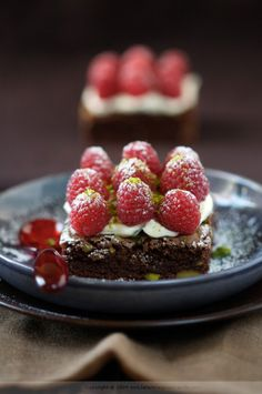 Chocolate Fudge Brownie with Pistacchio  Raspberries...pretty sure this is everything i love all in the same dessert. haha