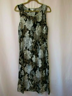 2da9cc80e6192 Croft & Barrow Size M Black, Brown & White Sleeveless Midi Dress #