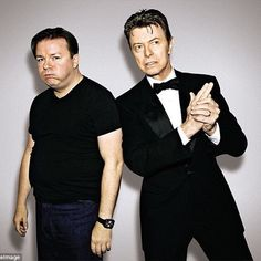 May David Bowie & Ricky Gervais during 'David Bowie Presents The H&M High Line Festival' Ricky Gervais, High Line, David Bowie, Memories, People, Finger, Stage, Presents, Live