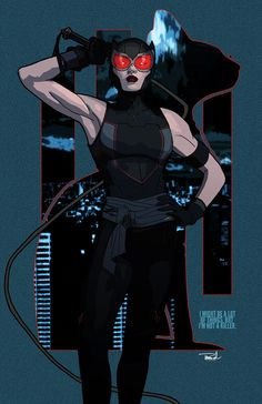 Catwoman. First 2015 piece. Inspired by Jae Lee's cover for Catwoman #36 with the short sleeve/sleeveless version. Also added a sash that also could be used as a whip or rope-ish things and a touch of red to tie into her goggles (I don't like how they're gold now) And finally a better designed background, because I need to work on them to make better pieces as a whole.