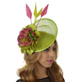 47b22b7ef39 Lime Green and Fuchsia Pink Gulhi Fascinator Hat for Kentucky  Derby