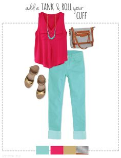 Colored Denim Styling - love the jeans, top, & necklace.  LOVE the colors! Get your own personal stylist @ StitchFix  https://stitchfix.com/referral/3503147