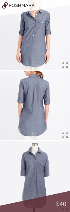 NWT J.crew popover denim tunic NWT jcrew popover tunic. Lightweight, can be dressed up or down. Never worn, in perfect condition. More pics soon! J. Crew Tops