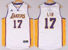 Los Angeles Lakers #17 Jeremy Lin Revolution 30 Swingman 2014 New White Jersey