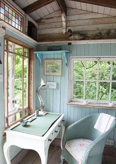 Love the windows and the walls Pastel green with stained woodwork