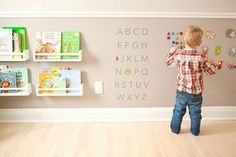 Love this wall! Looks like magnetic paint, and child-height bookshelves for kids playroom Baby Bedroom, Girls Bedroom, Room Baby, Bedroom Wall, Ikea Spice Rack, Spice Racks, Magnetic Paint, Deco Kids, Montessori Bedroom