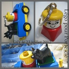 """Super Cool"" Duplo Key Ring and Holder. Not in English but you can see how it has been made just by the pictures! The car is hung on the wall to hold the keyring. Would make a great gift!"