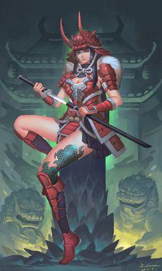 Fantasy Samurai, Female Samurai, Samurai Warrior, Fantasy Warrior, Fantasy Girl, Fantasy Character Design, Character Inspiration, Character Art, Fantasy Characters