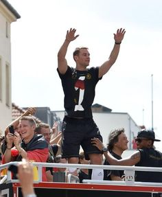 Raise your hands: Manuel Neuer (left) and Low enjoy the rapturous applause as they are che. Germany Soccer Team, Germany Team, World Cup Champions, We Are The Champions, Milan, German National Team, Fifa 2014 World Cup, Chelsea, Germany