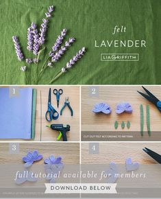 Our felt lavender flowers are great for beginners! Make an entire bundle in a short amount of time using a cutting machine with a rotary blade. Paper Flowers Diy, Handmade Flowers, Flower Crafts, Fabric Flowers, Felt Flower Diy, Crafts To Do, Felt Crafts, Ribbon Flower Tutorial, Bow Tutorial
