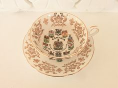 Vintage Canada Coat of Arms Paragon China Tea Cup and Saucer
