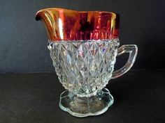 Indiana Glass Ruby Red creamer depression diamond point cranberry flash vintage