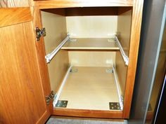 Measuring for pull out shelves in kitchen cabinets is easy with our measuring guide for made to fit sliding shelves for cabinets Kitchen Pull Out Drawers, Kitchen Cabinet Shelves, Kitchen Pulls, Ikea Kitchen, Kitchen Cabinets, Kitchen Decor, Kitchen Ideas, Kitchen Designs, Kitchen Layout