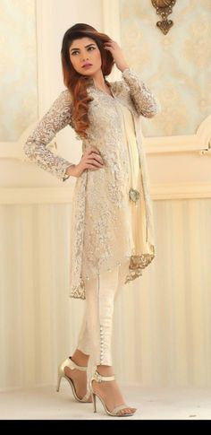 Aid an occasion look by using a stunning shrug to produce a gorgeous gown. Pakistani Couture, Pakistani Outfits, Indian Outfits, Indian Attire, Indian Wear, Stylish Dresses, Fashion Dresses, Fashion Pants, Wedding Dresses For Girls