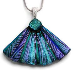 $24 Picasso Style Fan Dichroic Glass Pendant includes necklace by DichroicCreations on Handmade Australia