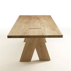 """DINING TABLE 06086   REQUEST QUOTE  Dining table with legs and top in solid wood.  Available in walnut, oak, maple or cherry wood (shown in solid oak).  Dimensions: 79"""" / 87"""" / 94.5"""" / 102.5"""" x 39.5"""" x 29""""H  Material: Solid wood  Finish: Walnut, oak, maple, cherry."""