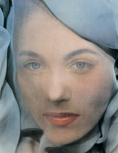 Erwin Blumenfeld, Blue Veil (1951), New York  This was published for the first time as the cover of william A. Ewing's book 'Blumenfeld: a Fetish for Beauty' (1996). The veil, is a recurring motif in Blumenfeld's work. The thin veils in Renaissance paintings by Botticelli and Lucas Cranach the Elder had attracted Blumenfeld since childhood.