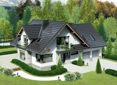 Dom przy Cyprysowej 15 K4 - zdjęcie 1 Bungalow Haus Design, Modern Bungalow House, Modern House Design, Double Storey House Plans, Two Storey House, Style At Home, Modern Architectural Styles, Modern House Floor Plans, Looking For Houses