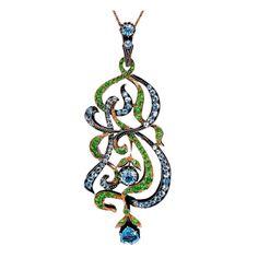 Art Nouveau Pendant Aquamarine Demantoid Gold Pendant - Romanov Russia....I want ...I want... I want....