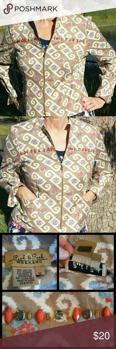 """Peck & Peck Weekend Print Jacket Coat sz. 10-12 Nice casual jacket-Peck & Peck Weekend. Beads add lovely detail. Great colors in camel tan, white, slate blue and coral.   •Sz 12 Runs small. Fit 10 easily & 12 with a small frame •98% Cotton, 2% Spandex. Dry Clean Only •2 front pockets •Unlined, zipper front •20.5"""" across pit to pit •16"""" across arm seams  •24.5"""" arm length  •2.5"""" cuff, roll if arm is too long •22.5"""" label to bottom •Non-smoking home.   Previously loved, very good…"""