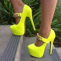 Metal Ankle Strap Platform Heels