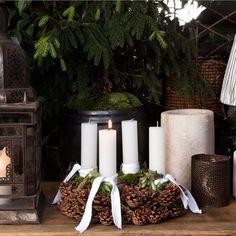 Christmas Decoration - Ideen zum Dekorieren des Adventskranzes - passende Stabkerzen auf www.Bastelsepp.de